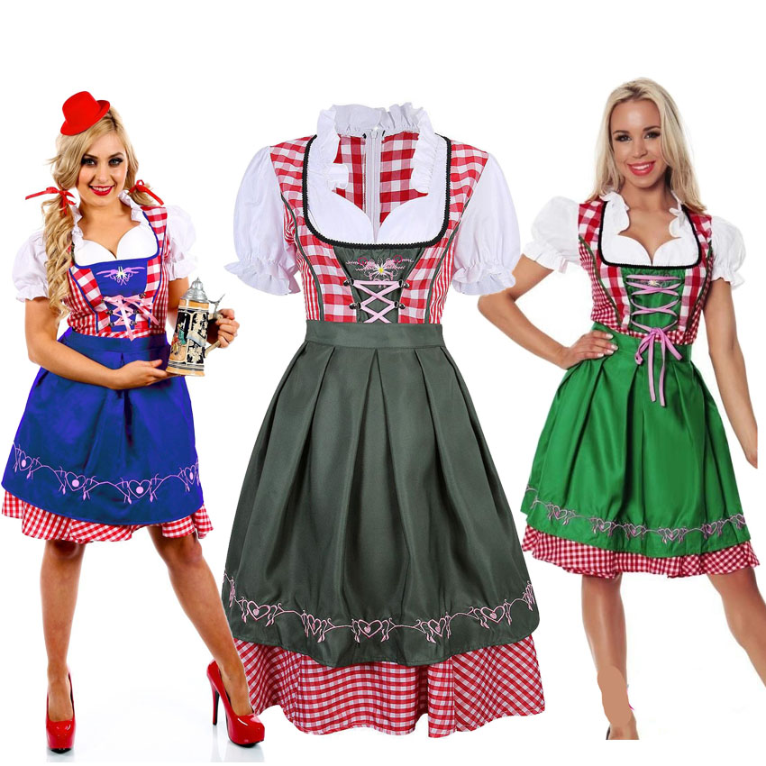 Women Germany Oktoberfest Holiday Party Costumes Beer Girl Uniform Bavarian Dirndl Wench Sexy Maid Costumes Plaid Dress