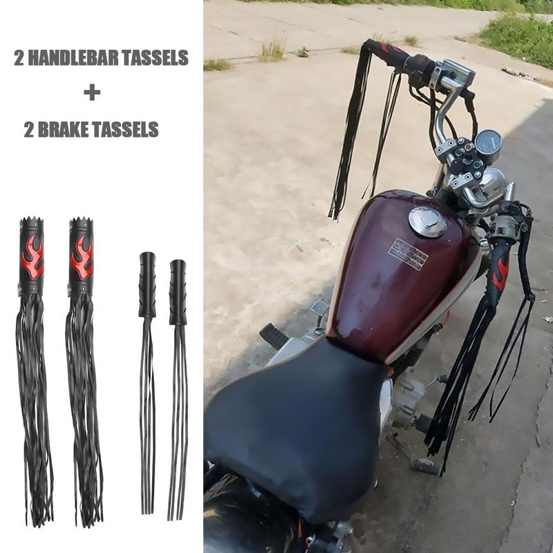 CUSTOM CRUISER Bike Handlebar Grips W//Flames Black//Chrome Streamers TASSLES