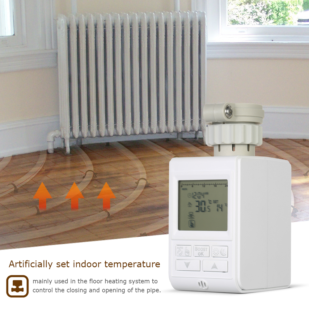 TRV Programmable Thermostatic Radiator Valve Heating System Radiator Actuator For Heater Radiator Room Temperature Controlling