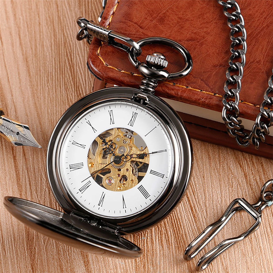 Smooth Polishing Double Hunter Mechanical Pocket Watches Roman Numerals Display Pendant Pocket Clock Best Retro Birthday Gifts