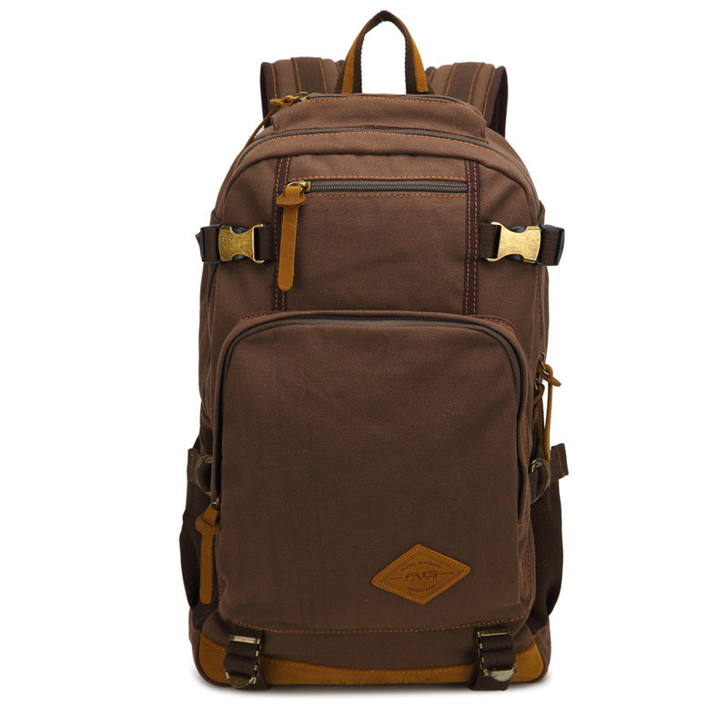 New fashion Luxury brand men's vintage canvas brown backpack school bag travel large capacity laptop backpacks high quality best