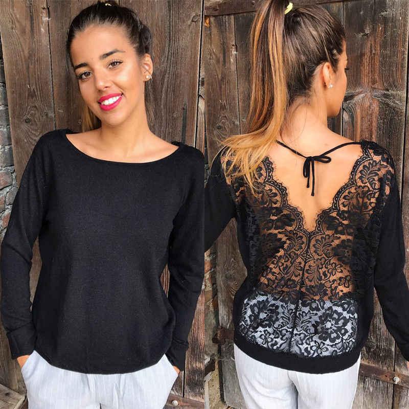 Yeni Moda Kadın Backless Dantel Sheer Uzun Kollu Nakış Çiçek Dantel Tığ Tee Gömlek Tops Bluz