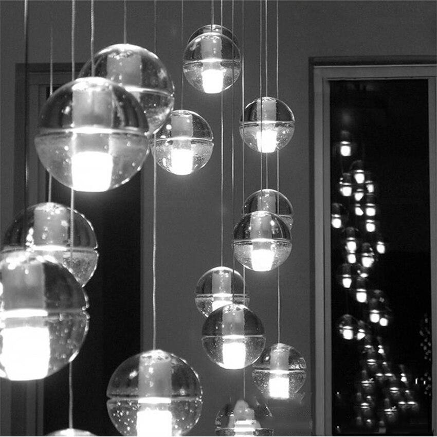 Nórdico LEVOU Pingente Luzes Meteoro Bola De Vidro De Cristal Pingente Lâmpadas de Iluminação Personalidade Escada Lâmpadas Penduradas Cozinha Luminárias