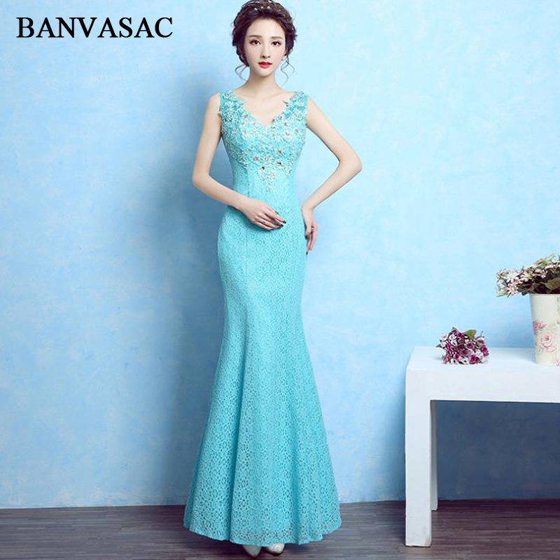 BANVASAC Elegant Crystal Deep V Neck Lace Appliques Long Evening Dresses Party Mermaid Tank Backless Prom Gowns