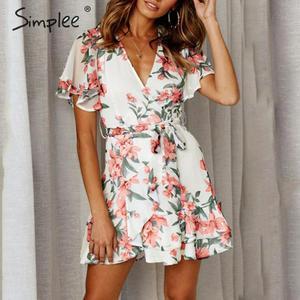 Image 1 - Simplee Boho çiçek baskı kadın artı boyutu kısa elbise Sashes fırfır tatil mini plaj elbiseleri Yaz zarif beyaz sundress