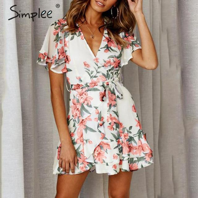 Simplee Boho çiçek baskı kadın artı boyutu kısa elbise Sashes fırfır tatil mini plaj elbiseleri Yaz zarif beyaz sundress