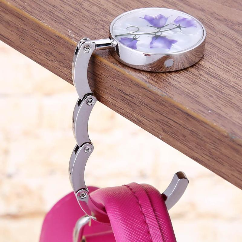 1Pc Round Metal Hanger Hook Holder Unique Folding Portable Flower Pattern Fashion Table Hook Crystal Alloy Purse Handbag Bag