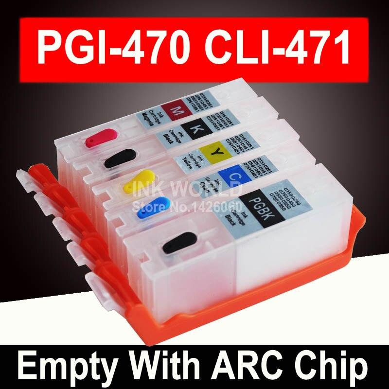 Pour Canon PIXMA TS 5040 TS5040 MG5740 PGI470 470 PGBK cartouche vide imprimante cartouche d'encre rechargeable puce permanente réutilisable