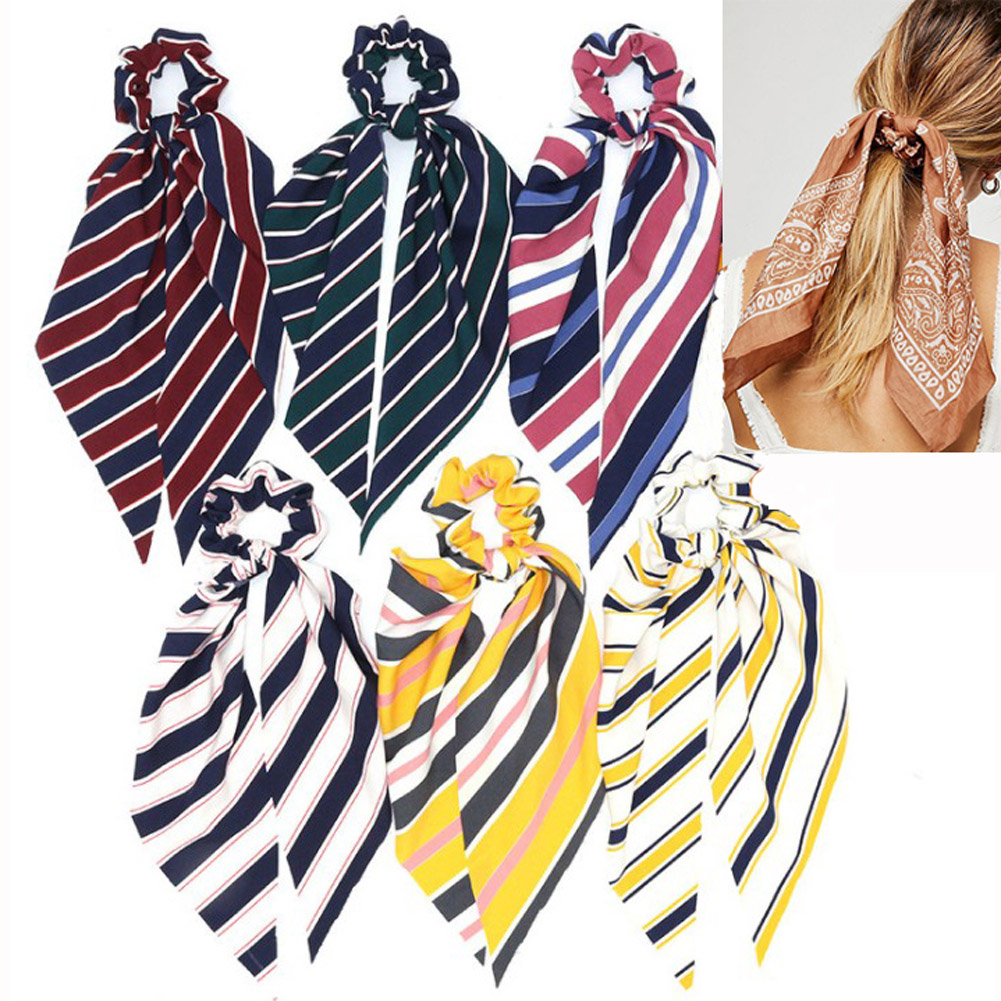 2019 Fashion Striped Bow Streamers Hair Ring Women Boho Hair Scarf Elastic Hair Bands Scrunchies Girls Hair Accessories Headwear