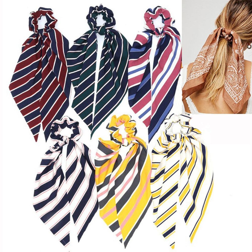 2019 Fashion Striped Bow Streamers Hair Ring Women Boho Hair Scarf Elastic Hair Bands Scrunchies Girls Hair Accessories   Headwear