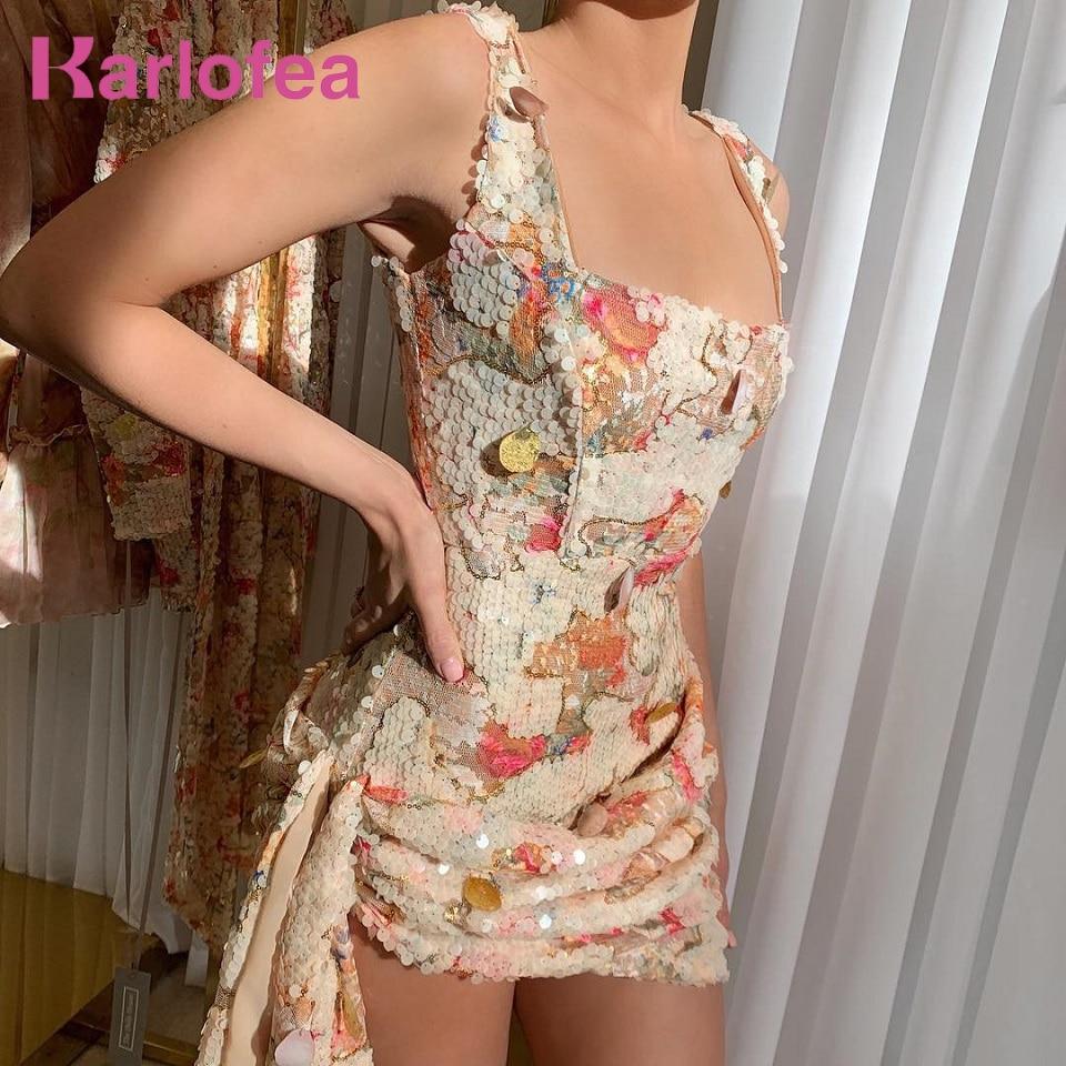 Karlofea Chic Floral paillettes robe de soirée Sexy col carré froncé côté drapé court Wrap robes dames tenues vêtements