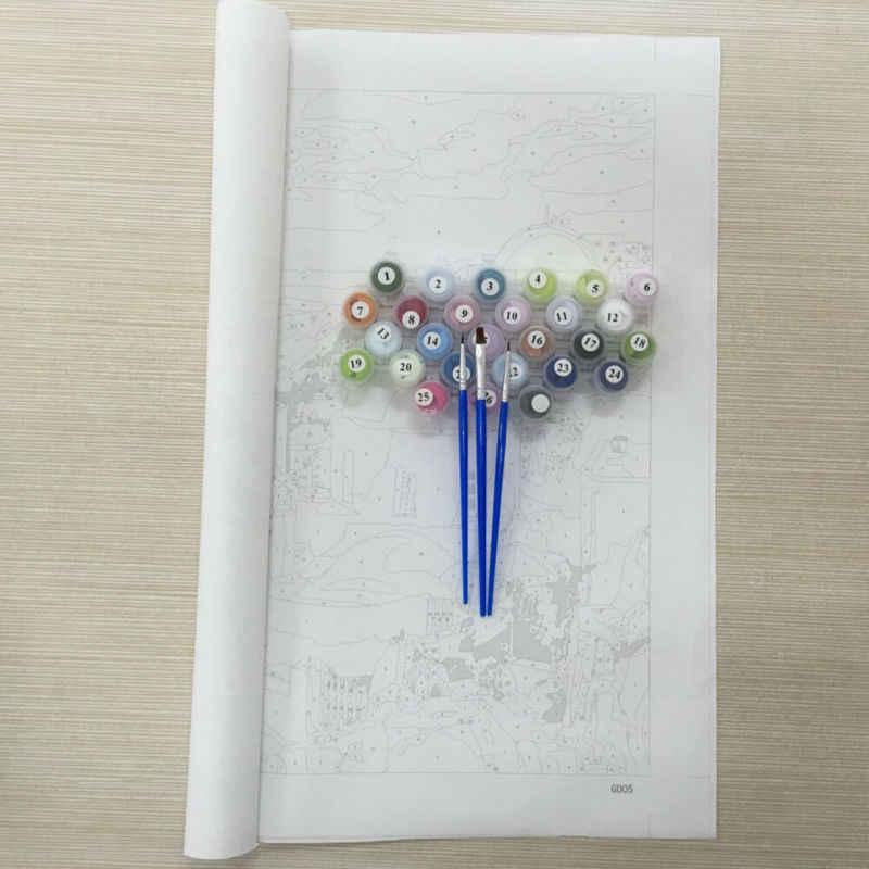 Colorido búho enmarcado imágenes DIY pintura por números DIY pintura al óleo en lienzo decoración del hogar pared arte GX26136 40X50 CM