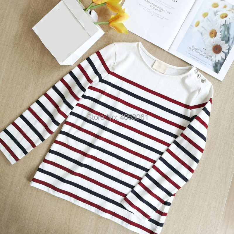 Cotton 100 Women Contrast Stripe Long Sleeve Round Neck Tees Top Features Shoulder With Button Stylish