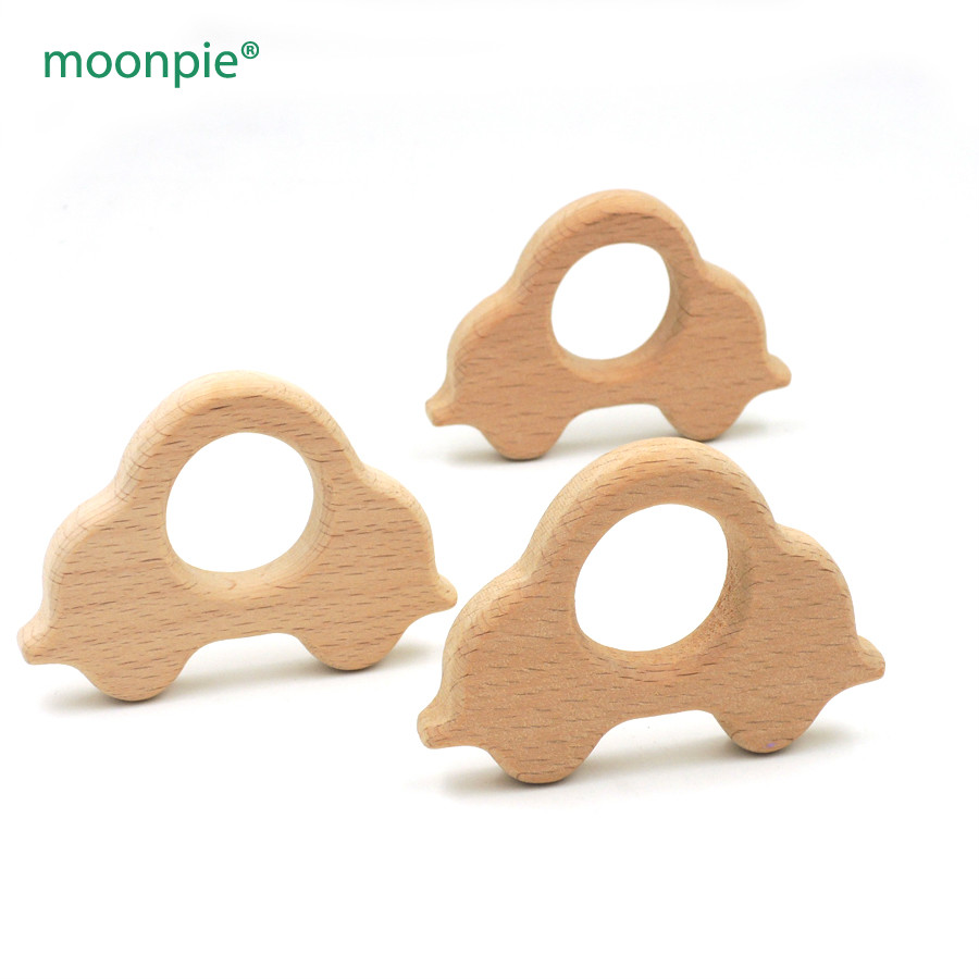 Dental Care Mother & Kids Wholesale 100pcs 70mm Organic Beech Car Wooden Teether Baby Teething Toy 3 Inch Diy Fitting Smooth Baby Boy Gift Ea52a