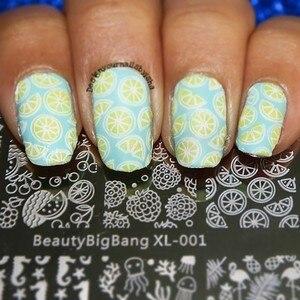 Image 5 - BeautyBigBang XL 01 ze stalowymi ćwiekami stemplowanie do paznokci polski Nail Art Shell owoce szablon obrazu stemplowanie paznokci