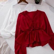 Корейские женские облегающие топы и блузки с бантом, Женская короткая рубашка на шнуровке с v-образным вырезом и длинным рукавом с оборками, большие размеры, Blusas Mujer