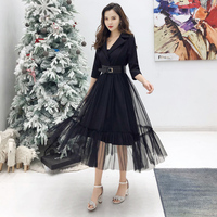 2019 autumn winter Sexy Patchwork Eegant Dress Women Notched Neck Mesh Dresses Long Swing Vestido Belt high quality robe femme