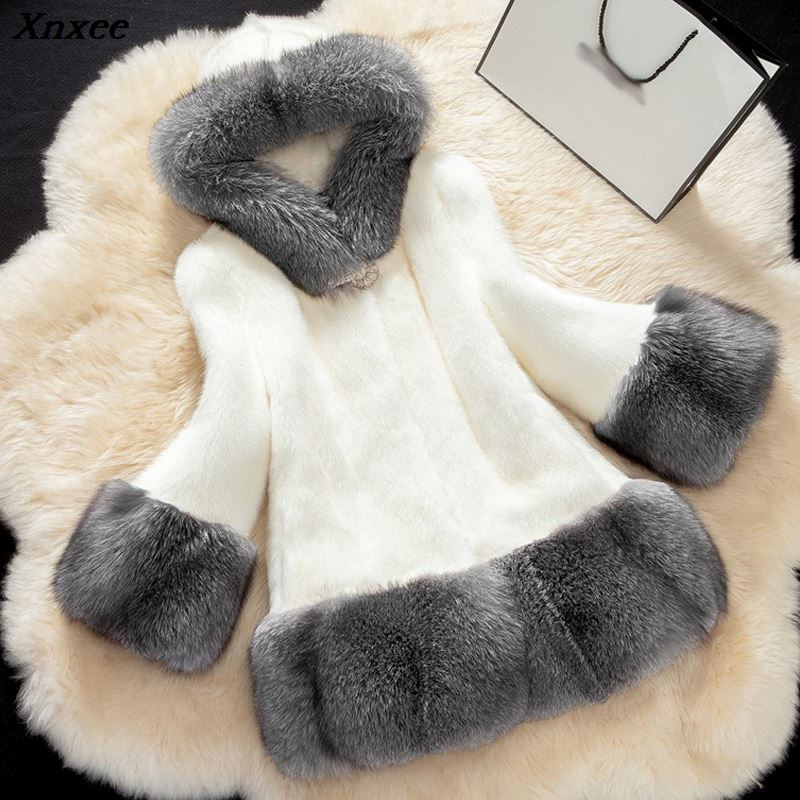 Xnxee Luxury Winter Women Faux Fur Coat 2018 Casual Plus Size Fox Jacket coat Female Outerwear Hooded Pocket 5XL