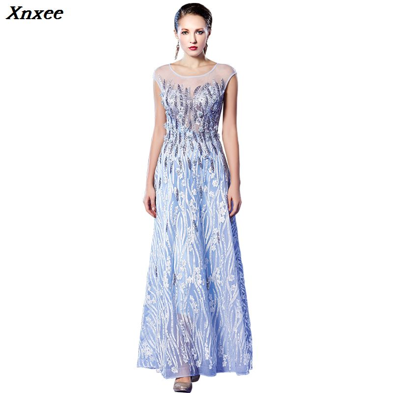 Embroidery Sequined Mother 2019 new Women s elegant long gown party proms for gratuating date ceremony