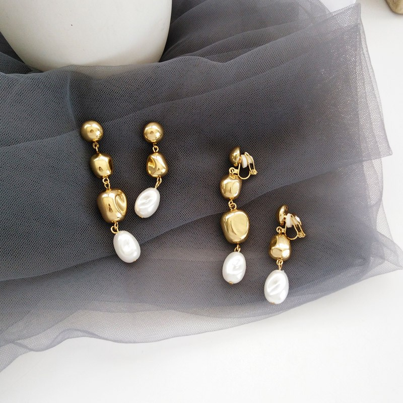 New Baroque Metal Gold Pearl Ball Long Drop Earring Elegant Charms Dangle