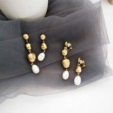 New Baroque Metal Gold Pearl Ball Long Drop Earring Elegant Charms Dangle Earring