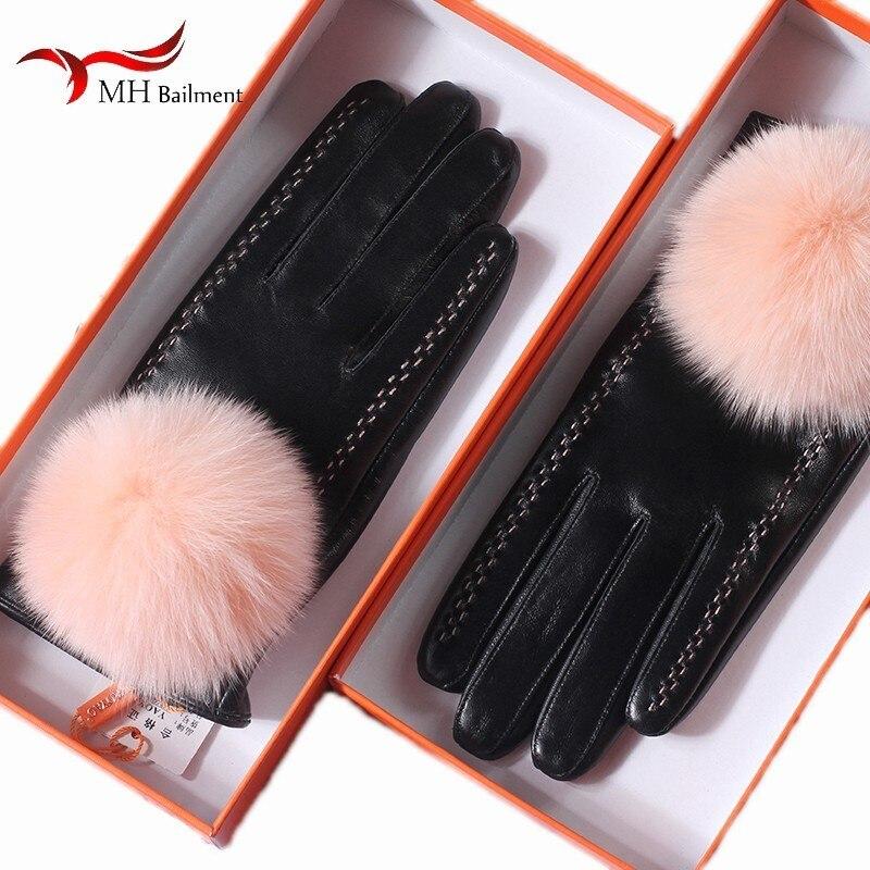 Mignon renard boule de fourrure dames en peau de mouton gants en cuir hiver froid chaud plus velours épais écran tactile équitation gants en cuir femmes T8