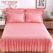 NEW 150*200cm Solid Cotton Single Double Bed Skirt Mattress Cover Petticoat Twin Full Queen Bed Skirts Bedspread bedding sets(China)