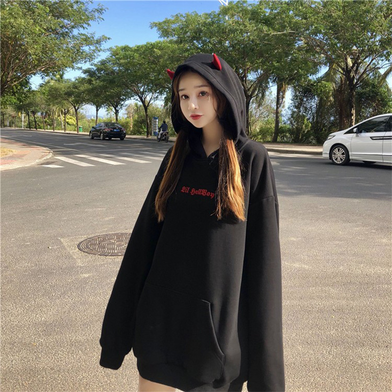 Harajuku Devil Wing Hooded Women Fleece Sweatshirt Casual Loose Long Sleeve Hoodies Sweatshirt Female Autumn Warm Pullover Tops 1