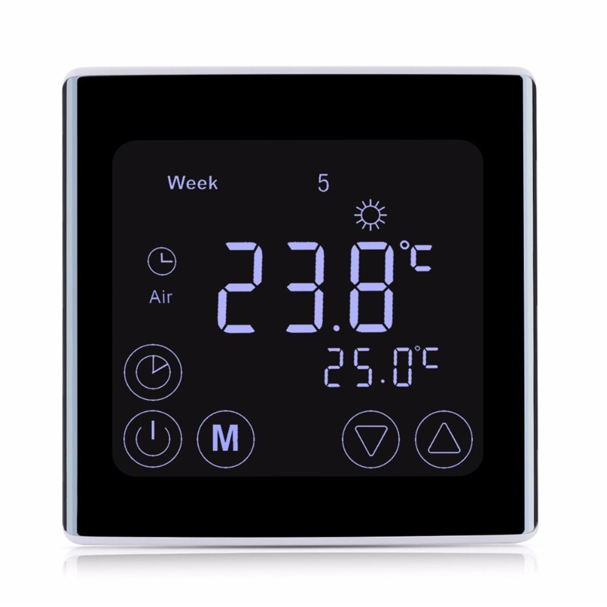 LCD Touch. Bildschirm Wand Boden Termostat 85-250 v 16A Wöchentlich Programmierbare Automatische Temperatur Steuerung