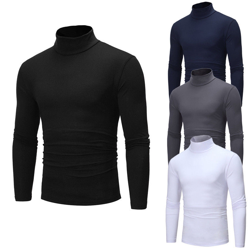 Winter Autumn Men Thermal Cotton Turtle Neck Pullover Basic Tee Stretch Crew Neck High Quality T-shirt