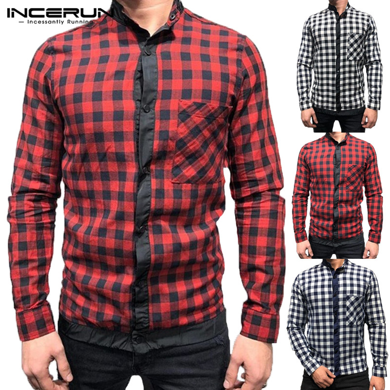 INCERUN 2019 Fashion Plaid Men Casual Shirt Long Sleeve Button Pockets Men Business Shirt Streetwear Male Tops Chemise Plus Size