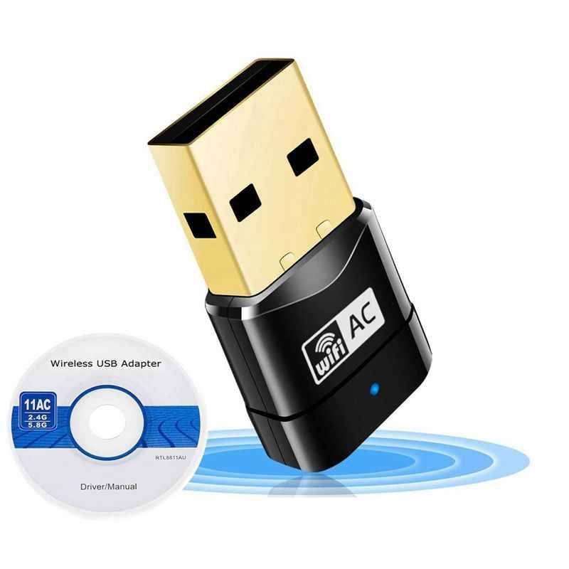 600 Mbps Dual Band 802.11ac 2.4G Hz 5G Hz PC WIFI USB Adaptor Jaringan LAN Dongle