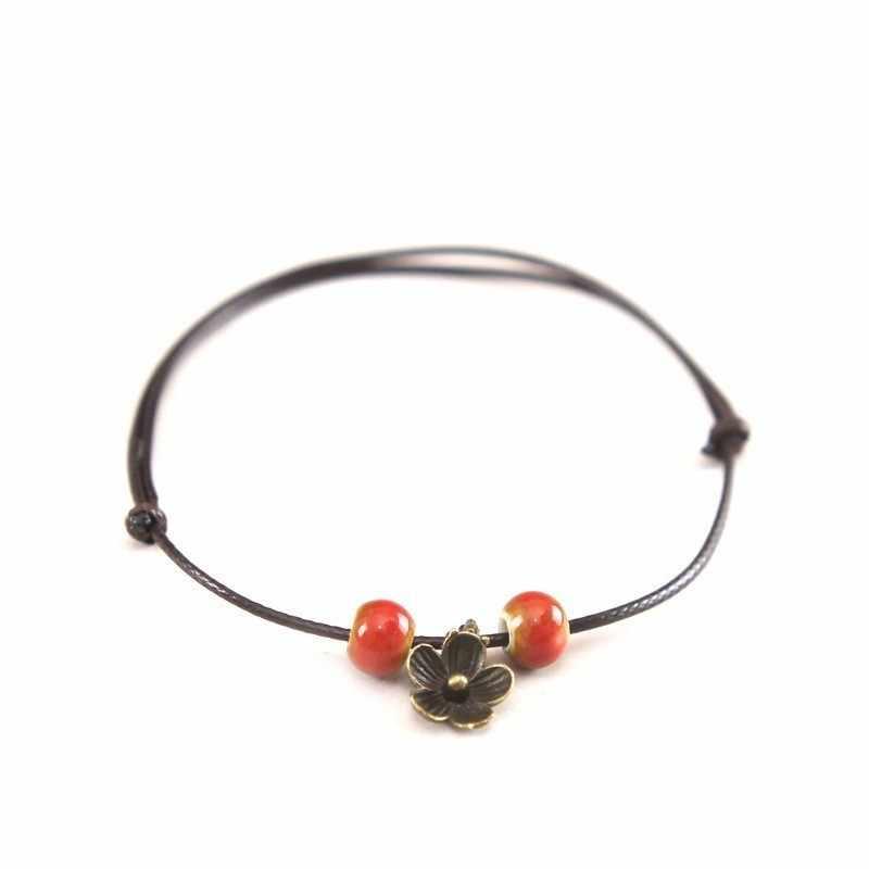 1 Uds. Nueva moda pulseras de cerámica simples ajustables tobilleras originales tejidas a mano para mujer joyería de cerámica de hoja 39 #