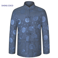 Sheng Coco Male Traditional Chinese Coat Jacket Zhongshan Winter Coat China Mens Chinese New Year Clothing Oriental Navy Blue