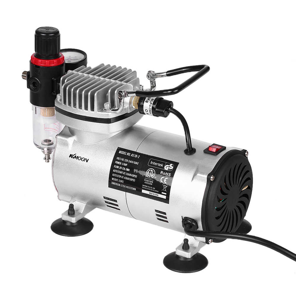 KKmoon Power Tools Spuiten Spray Mini Air Compressor Professionele Gravity Feed Dual-Action Airbrush Zuiger Compressor