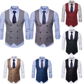 80353f80789ab Hombres Formal de negocios casuales chaleco traje Delgado chaqueta a  cuadros chaleco chalecos trajes
