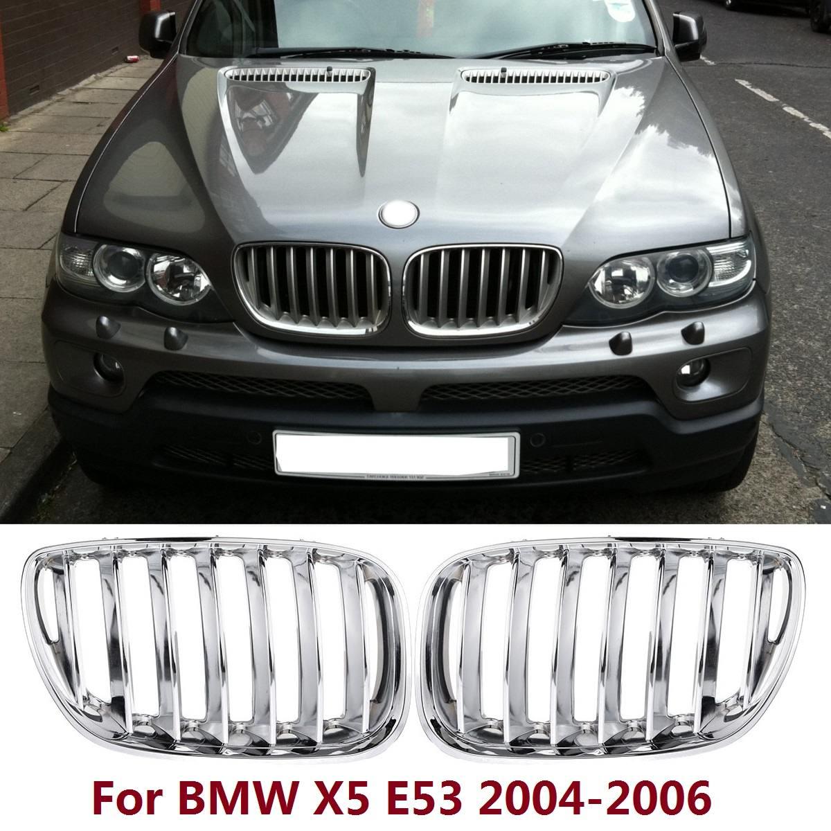 Paire de grilles de reins de capot avant chromé pour BMW X5 E53 2004 2005 2006 calandre de pare-chocs avant style de voiture