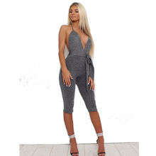 2019 Hot Summer Playsuit Jumpsuit Romper Sexy Sleeveless Party Jumpsuits Women Ladies White grey Rompers Clubwear new women clubwear summer playsuit body party jumpsuit romper shorts sexy sweetheart bustier bodysuit rompers