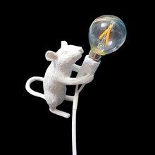 Nordic Desk Lamp Mouse Resin White Black Gold LED E12 EU/USA Plug Rat Table Light Kids Gift Animal