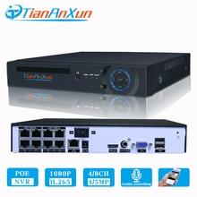Tiananxun sistema de seguridad CCTV H.265, 48V, NVR poe, 4/8 canales, para cámara POE, IP, DVR, 5MP, 4MP, 1080P, videovigilancia, onvif