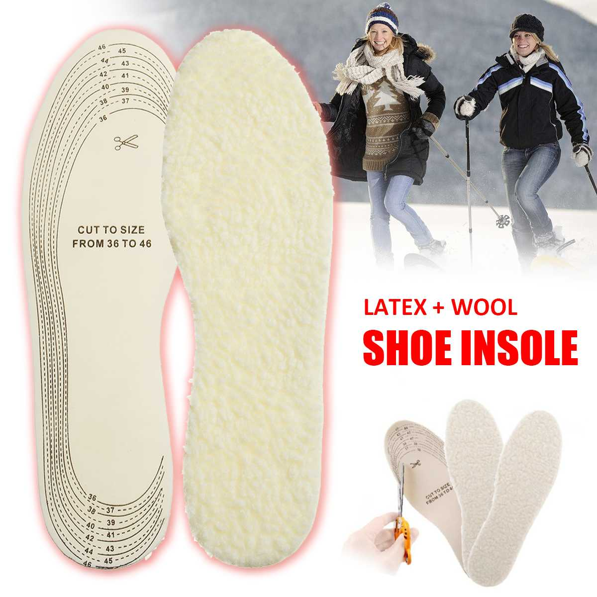 Unisex DIY Cut Shoes Inner Soles Cushion Pads Winter Warm Soft Wool Insoles For Snow Boots Outdoor Sports Inserts Insole