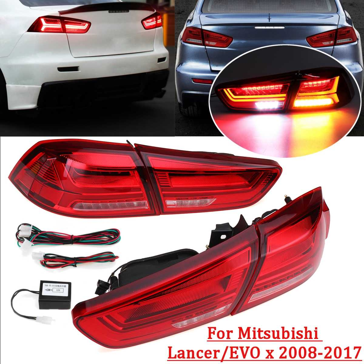 for Mitsubishi Lancer/EVOx 2008 2017 1 Pair Rear LED Tail Brake Light Red Shell Lamps Signal LED DRL Stop Rear Lamp Accessories