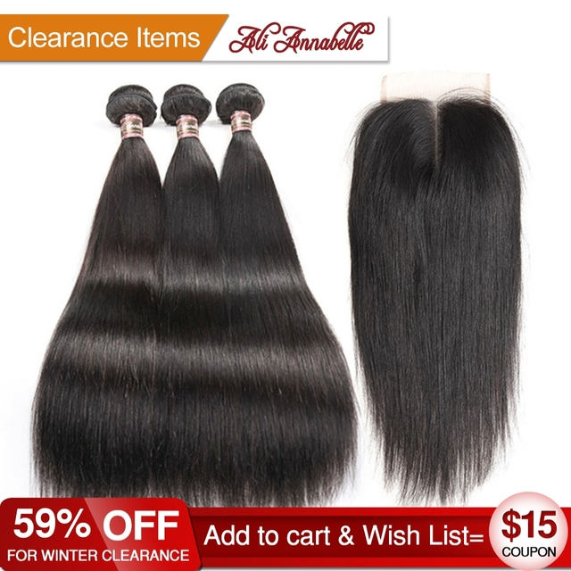 ALI ANNABELLE HAIR Brazilian Straight Hair With Middle Free Part Lace Closure Remy Human Hair Bundles 4PCS PACK 4*4 lace Closure