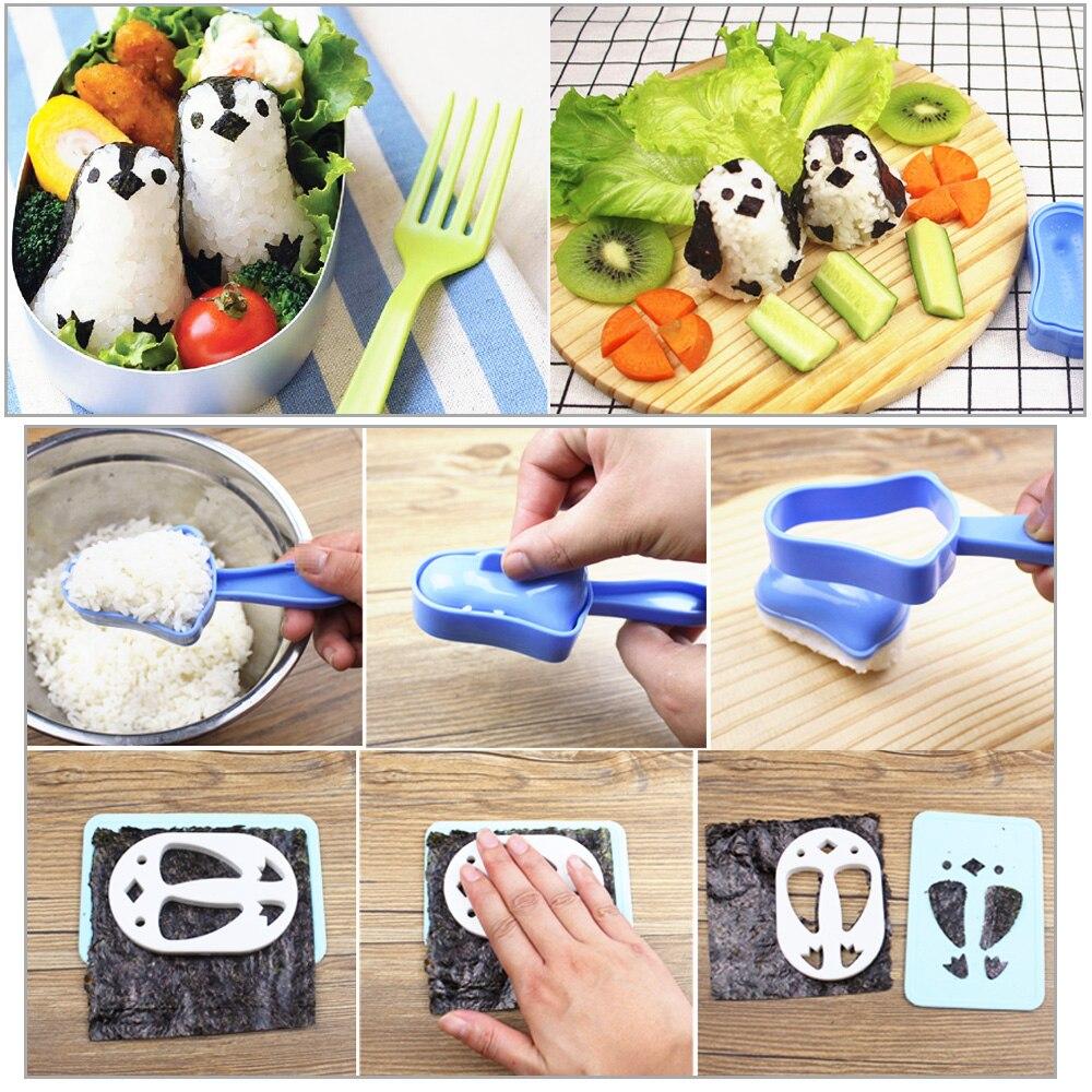 HILILFE 1 набор, суши-Пингвин, сэндвич-формы форма для рисовых шариков, суши, нори, пуансон, инструмент, инструменты для приготовления пищи, форма для рисовых шариков-2