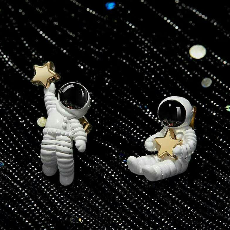 Cute Women Girl Creative Asymmetrical White And Black Astronaut 1Pair Starry Sky Space Star Women Earrings Valentines Gift in Stud Earrings from Jewelry Accessories