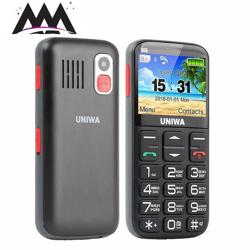 Uniwa V808Gロシア語キーボード3G携帯電話SOS 1400 mAh 2.31