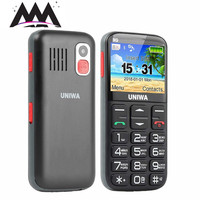 Uniwa V808G Russian keyboard 3G Mobile Phone SOS 1400mAh 2.31 Curved Screen Telephones singl SIM Old Man Flashlight Cell phones
