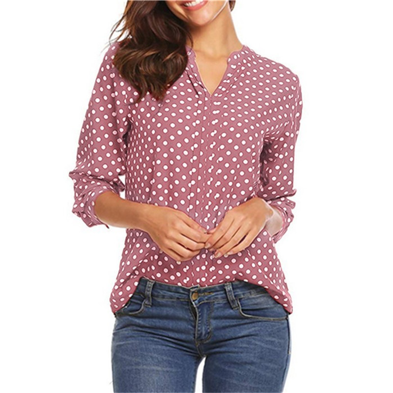 Polka Dot Chiffon Shirt Girls Tops Girls Workplace Shirts Plus Measurement 4XL 5XL Blusas Femininas 2019 Spring Summer time Boho Clothes Blouses & Shirts, Low cost Blouses & Shirts,...
