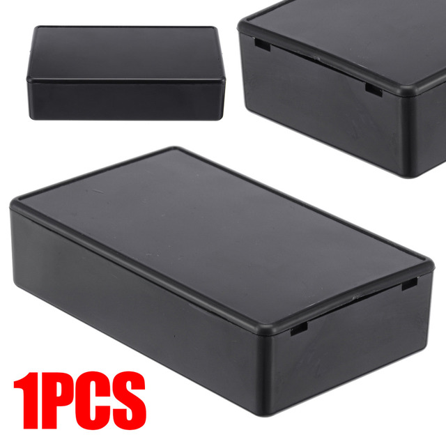 Black Built-in Hole Electronic Project Instrument Case Waterproof Plastic Enclosure Box 4 Sizes