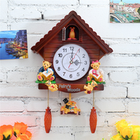 Retro Vintage Wooden Cuckoo Clocks Handcraft Carving Living Room Wall Clock Swing Timer Kitchen Clock Cuckoo Clock 3D 3DBG049